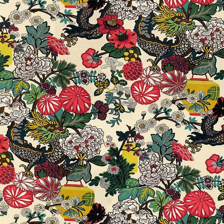Schumacher Chiang Mai Dragon Chinoiserie Alabaster Linen Two-Sided 18