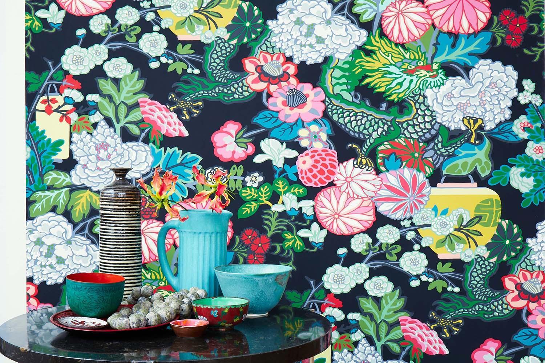 Schumacher Chiang Mai Dragon Floral Art Deco Smoke Wallpaper For