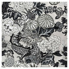 Schumacher Chiang Mai Dragon Floral Art Deco Smoke Wallpaper
