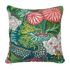 Schumacher Chiang Mai Dragon Jade Two-Sided Linen Pillow