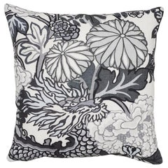 Schumacher Chiang Mai Dragon Smoke Linen Pillow