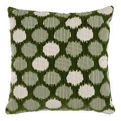 """Schumacher Cirque Velvet 22"""" Pillow in Green"""