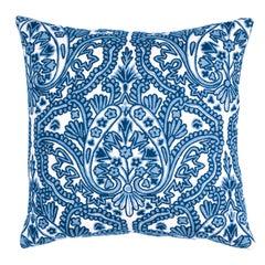 Schumacher Claremont Crewel Embroidery Pillow in Delft