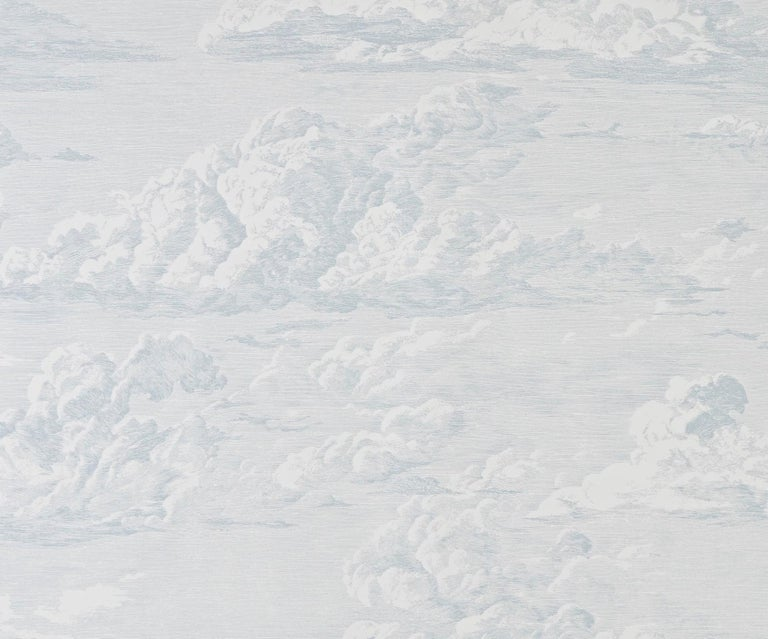 Modern Schumacher Cloud Toile Wallpaper in Mineral For Sale