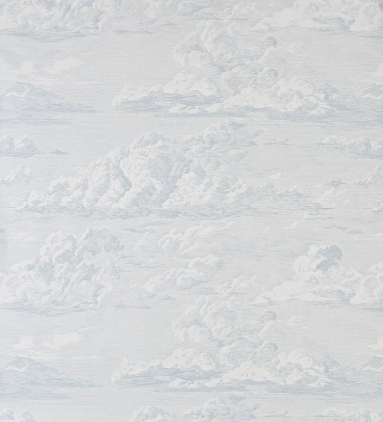 American Schumacher Cloud Toile Wallpaper in Mineral For Sale