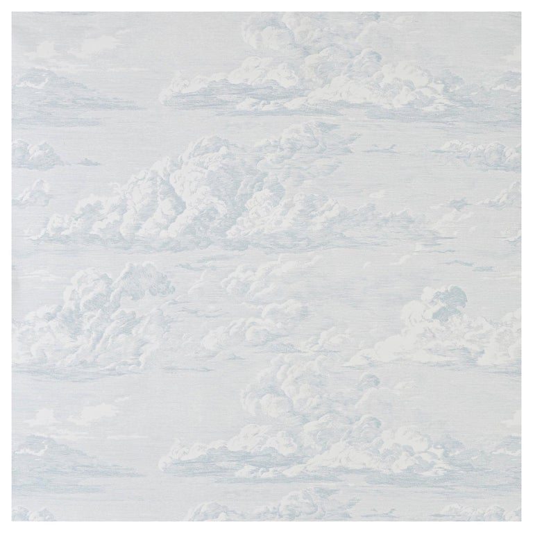 Schumacher Cloud Toile Wallpaper in Mineral For Sale