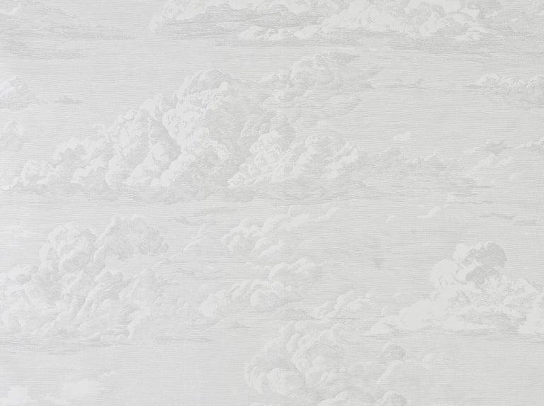 American Schumacher Cloud Toile Wallpaper in Quartz For Sale