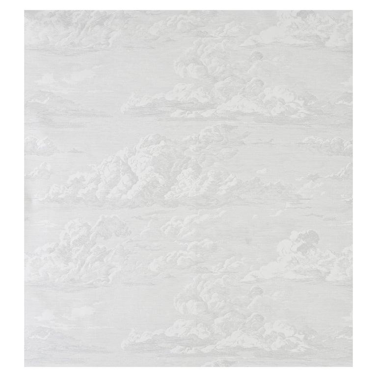 Schumacher Cloud Toile Wallpaper in Quartz For Sale