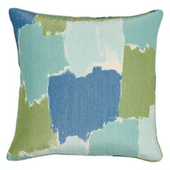 Schumacher Colorblock Ikat Aqua Linen Two-Sided Pillow