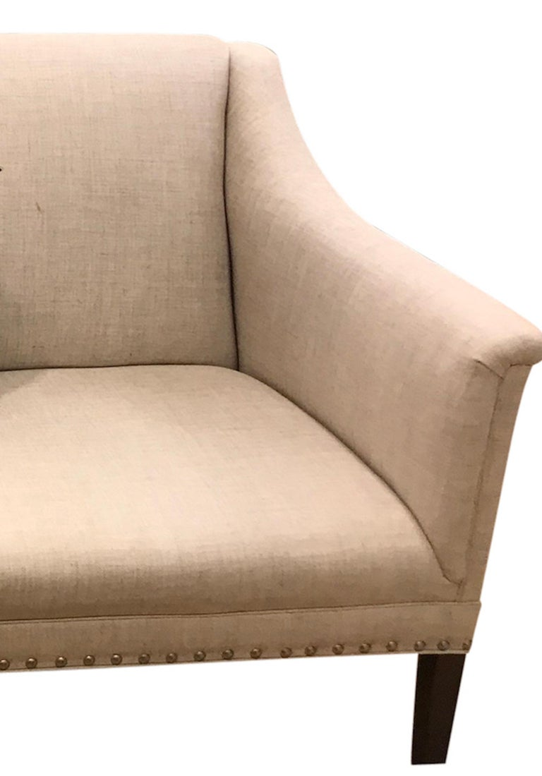 Schumacher Copenhagen Walnut Sofa Upholstered in Sahara Weave Fabric In Good Condition For Sale In New York, NY