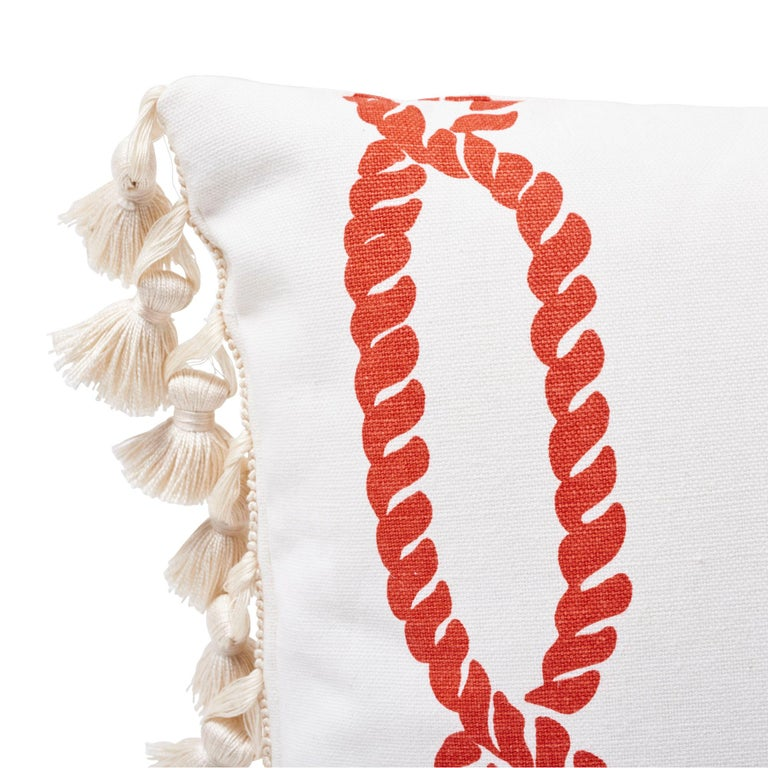 Modern Schumacher Coralline Red Two-Sided Lumbar Linen Cotton Pillow For Sale