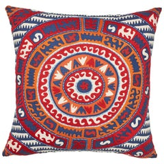 Schumacher Corfu Navy Multi Linen Cotton Pillow