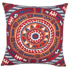 Schumacher Corfu Navy Multi Linen Cotton Pillow