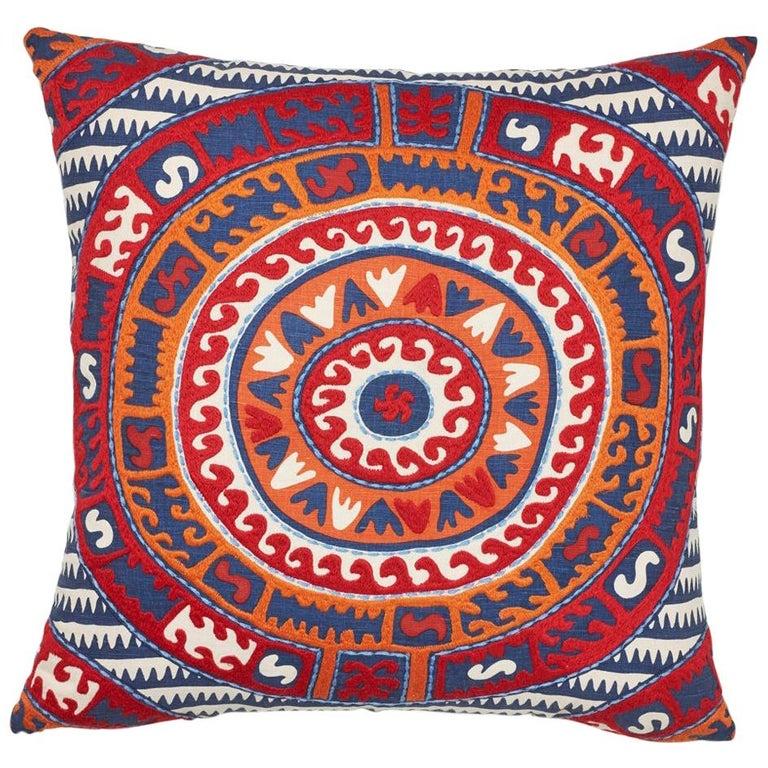 Schumacher Corfu Navy Multi Linen Cotton Pillow For Sale