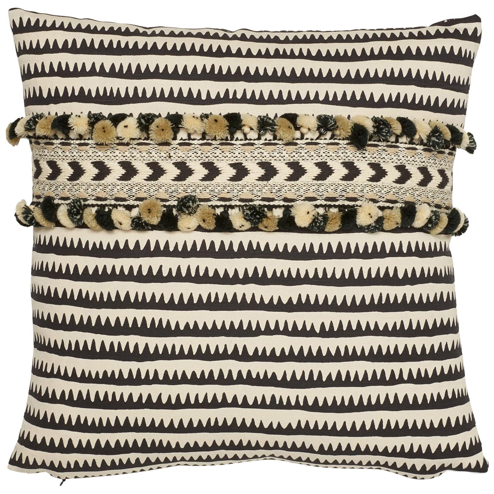 Schumacher Corfu Stripe Black Linen Cotton Two-Sided Pillow, Maracana Pom Tape