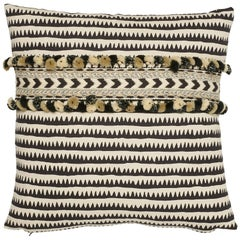 Schumacher Corfu Stripe Black Linen Cotton Two-Sided Pillow, Maracana Pom Tape