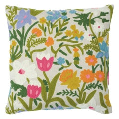 Schumacher Crewel Garden Pillow in Multi