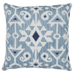 Schumacher Crusoe Ikat Sky Two-Sided Cotton Pillow