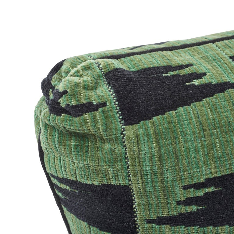 Contemporary Schumacher David Kaihoi Tutsi Green Two-Sided Cotton Pillow For Sale