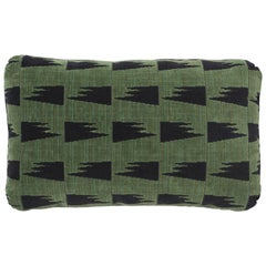 Schumacher David Kaihoi Tutsi Green Two-Sided Cotton Pillow
