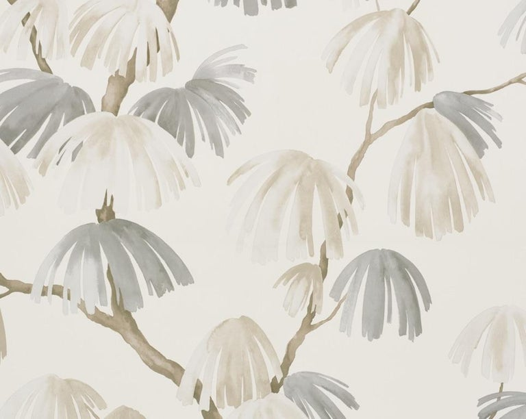 Romantic Schumacher David Kaihoi Weeping Pine Botanical Neutral Wallpaper, 9 Yard Roll For Sale