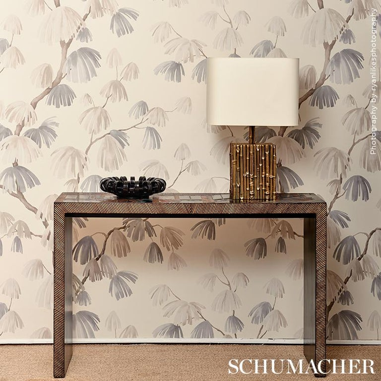 Schumacher David Kaihoi Weeping Pine Botanical Neutral Wallpaper, 9 Yard Roll In New Condition For Sale In New York, NY