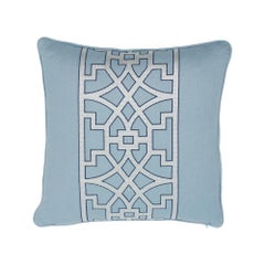 Schumacher Don't Fret Sky Two-Sided Linen Pillow