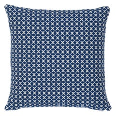 Schumacher Elias Blue Ivory Cotton Two-Sided Pillow