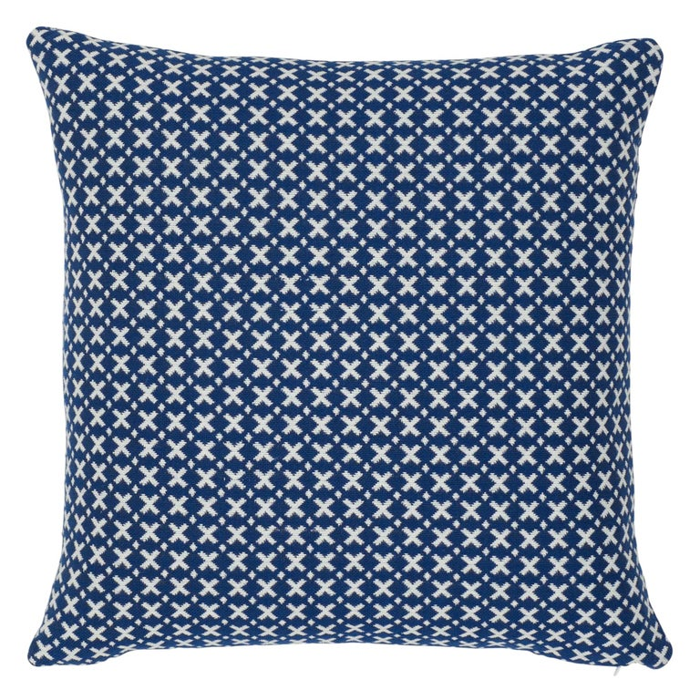 Schumacher Elias Blue Ivory Cotton Two-Sided Pillow For Sale