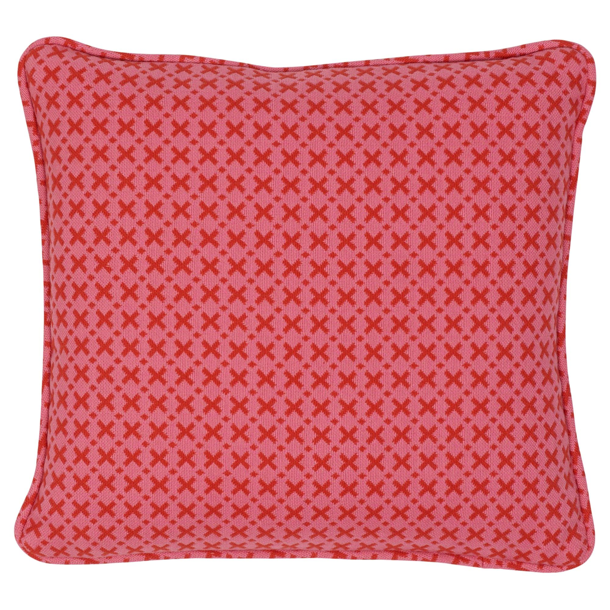 Schumacher Elias Pink Red Cotton Two-Sided Pillow