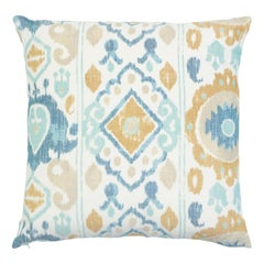 Schumacher Elizia Ikat Sky Ochre Two-Sided Cotton Linen Pillow
