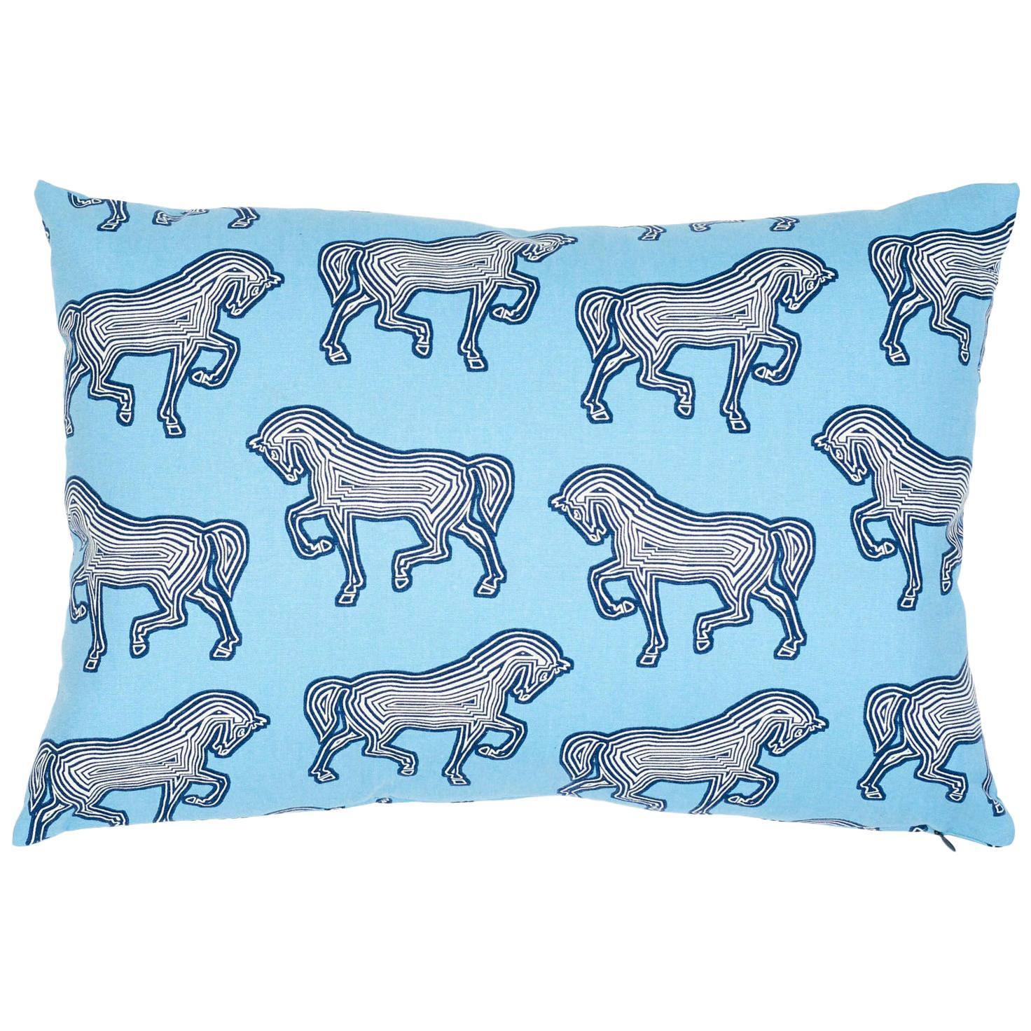 Schumacher Faubourg Blue Two-Sided Cotton Lumbar Pillow