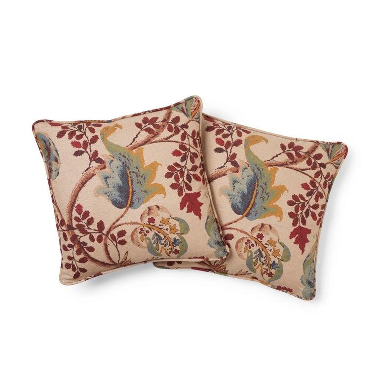Modern Schumacher Fox Hollow Document Natural Two-Sided Linen Cotton Pillow For Sale