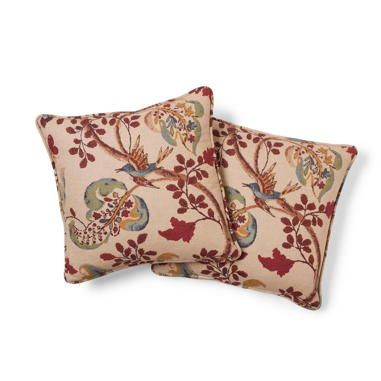 American Schumacher Fox Hollow Document Natural Two-Sided Linen Cotton Pillow For Sale