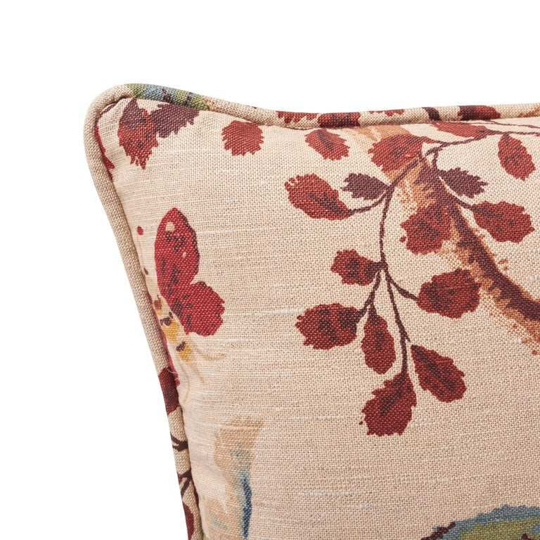 Schumacher Fox Hollow Document Natural Two-Sided Linen Cotton Pillow In New Condition For Sale In New York, NY