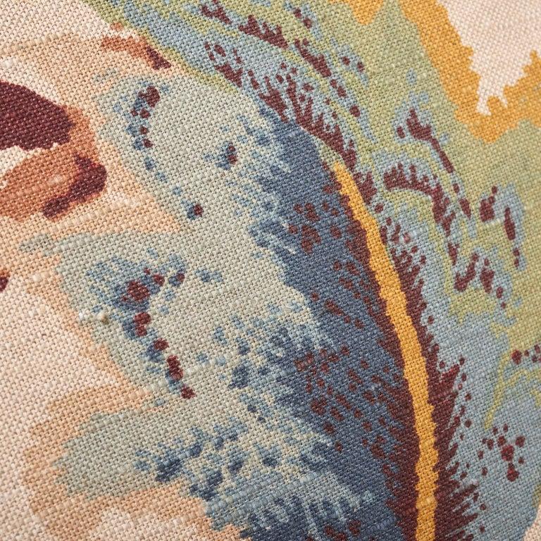 Schumacher Fox Hollow Document Natural Two-Sided Linen Cotton Pillow For Sale 2