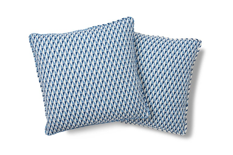 Mid-Century Modern Schumacher Frank Lloyd Wright Design 107 Blue Two-Sided Linen Pillow For Sale