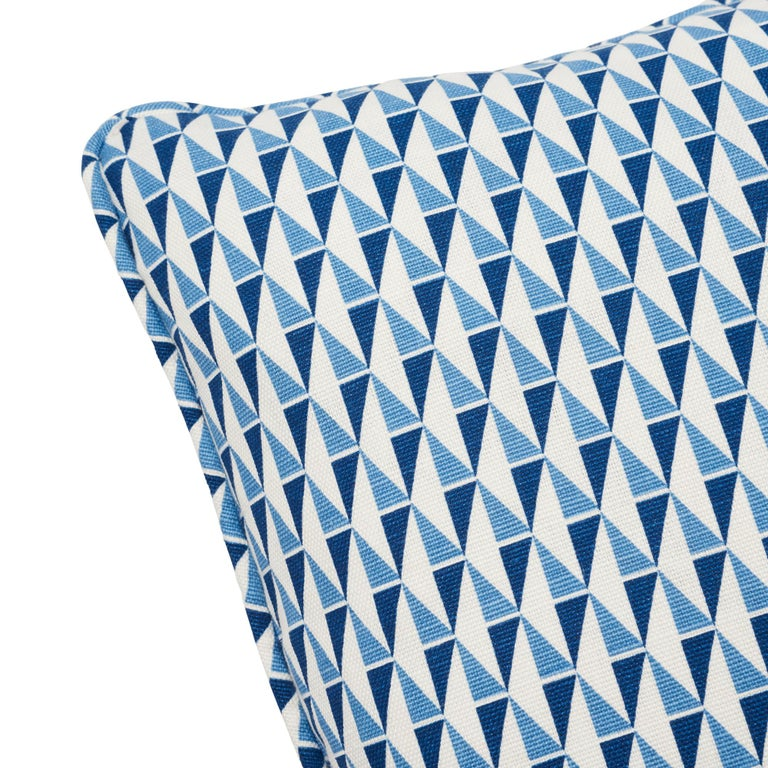 Belgian Schumacher Frank Lloyd Wright Design 107 Blue Two-Sided Linen Pillow For Sale