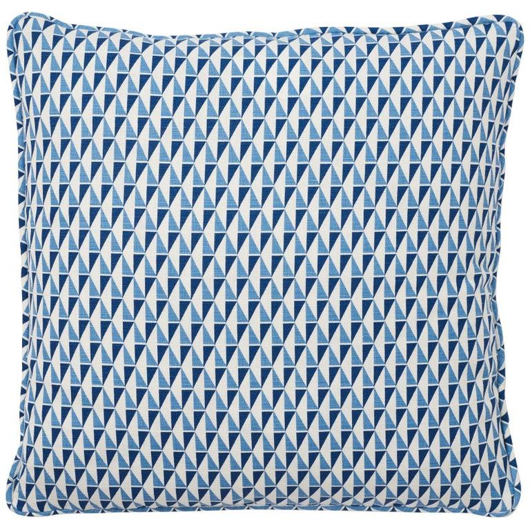 Schumacher Frank Lloyd Wright Design 107 Blue Two-Sided Linen Pillow For Sale