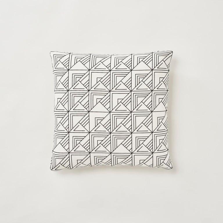 Belgian Schumacher Frank Lloyd Wright St Marks Black White Two-Sided Pillow For Sale
