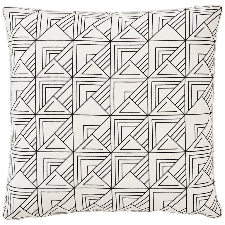 Schumacher Frank Lloyd Wright St Marks Black White Two-Sided Pillow For Sale