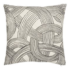 Schumacher Freeform Black Linen Pillow
