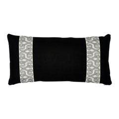 Schumacher Freeform Tape + Piet Performance Linen Black Two-Side Lumbar Pillow
