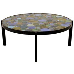 Schumacher French Ceramic Coffee Table with Iron Base and multi-color tiled top