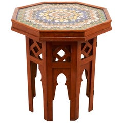 Schumacher French Side Table with Patterned Ceramic Top