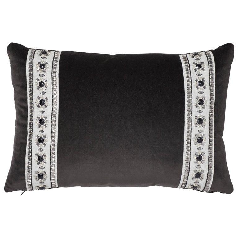 Schumacher Gainsborough Velvet Raven Pillow For Sale