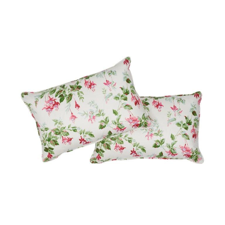 Romantic Schumacher Garden Gate Chintz Magenta Cotton Two-Sided Lumbar Pillow For Sale