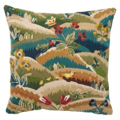 Schumacher Gerry Embroidery Hand-Stitched Multi-Color Two-Sided Pillow