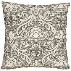 Schumacher Hendrix Embroidery Black Linen Pillow