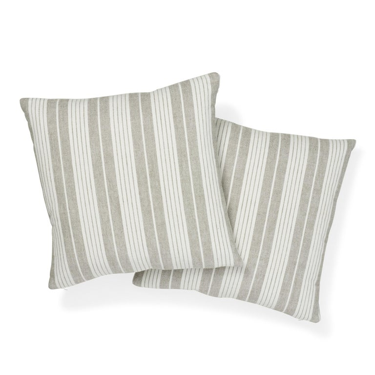 Modern Schumacher Horst Stripe Grisaille Two-Sided Pillow For Sale